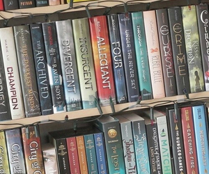 book, divergent, and bookshelf image