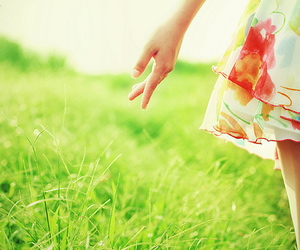 dress, girl, and grass image