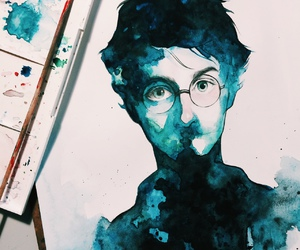 blue, drawing, and harry potter image