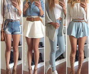 clothes, girls, and denim outfit image