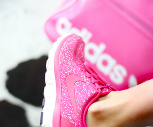 nike, pink, and running shoes image