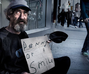 smile, penny, and homeless image