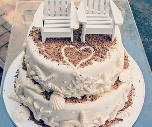 cake, beach, and wedding image