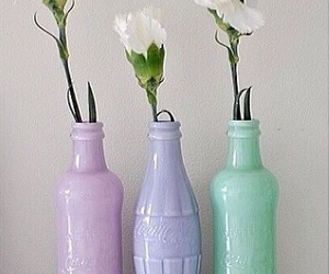 flowers, pastel, and bottle image