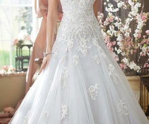 wedding dress, wedding, and bride image