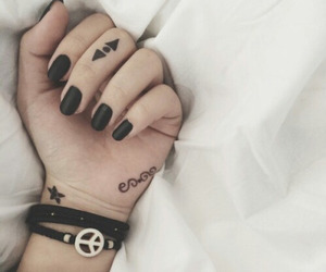 black, nails, and tattoo image