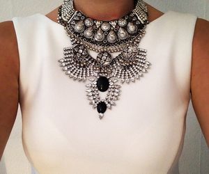black and white, necklace, and style image