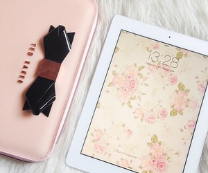 ipad, pink, and flowers image
