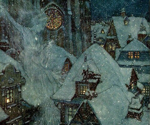 winter, snow, and Edmund Dulac image
