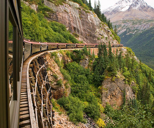 train, mountains, and beautiful image