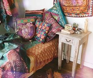hippie, bed, and bedroom image