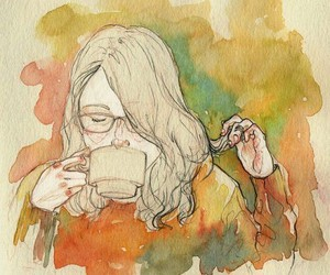 girl with coffee image