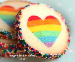 heart, rainbow, and food image