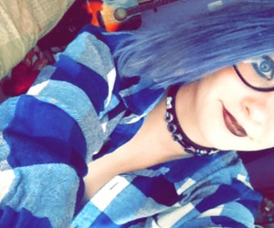 blue hair, emo, and scene image