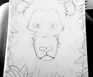 black and white, draw, and lion image