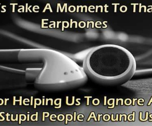 earphones, music, and funny image