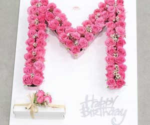 birthday, flowers, and M image