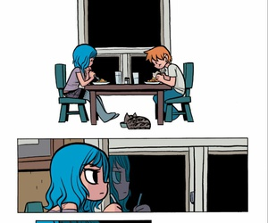 blue hair, cat, and comics image