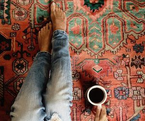 coffee, cup, and jeans image