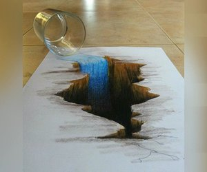 drawing, water, and waterfall image
