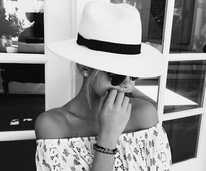 black and white, hat, and fashion image