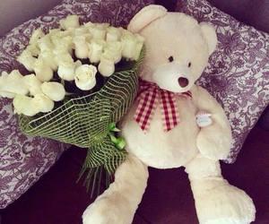 girl, bear, and beautiful image