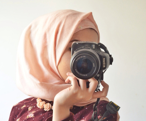 hijab, camera, and islam image