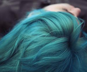 girl, hair, and blue hair image