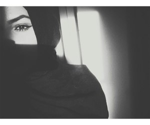 black and white, hijab, and islam image