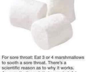 marshmallow, sore throat, and life hacks image