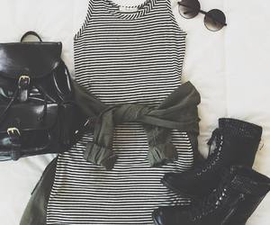 backpack, grunge, and striped dress image