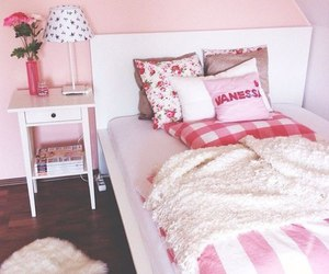 bed, house, and pink image