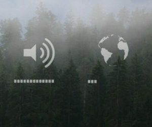 earphones, forest, and loud image