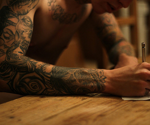 arm, writing, and man image