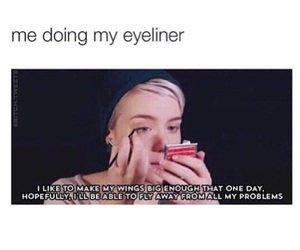 eyeliner, funny, and jokes image