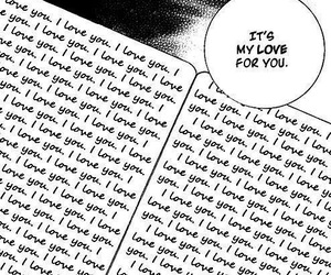love, manga, and black and white image