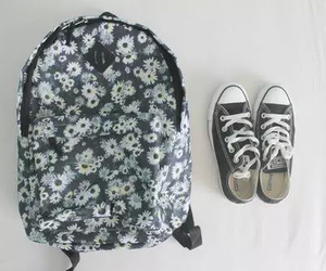 converse, flowers, and bag image