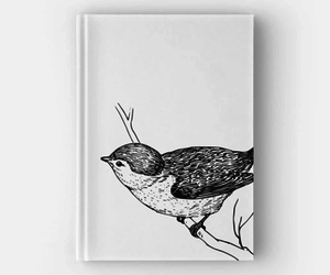 bird, black and white, and journal image