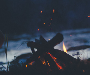 fire, night, and grunge image