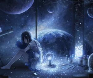 anime girl, anime sad, and cosmology image