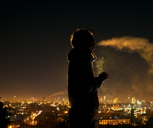 smoke, city, and boy image