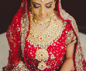 bride, indian, and wedding image