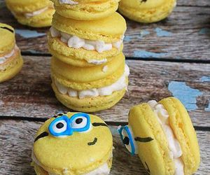 food, macaroons, and minions image