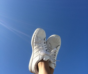 blue, sky, and adidas image
