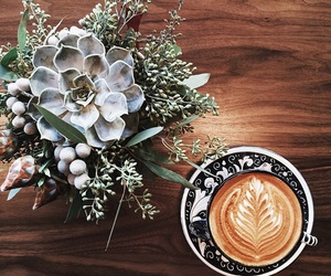 coffee, flowers, and plants image