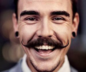 mustache, smile, and man image