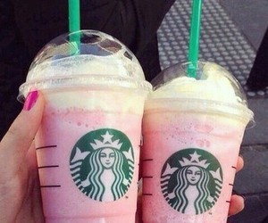starbucks, pink, and food image