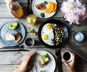 food, breakfast, and flowers image