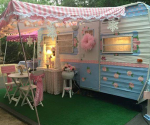 Caravan, pink, and summer image