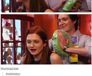 bonnie wright, harry potter, and james phelps image